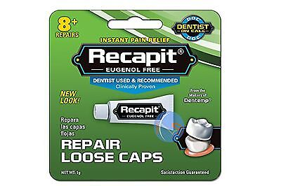 DENTEMP RECAPIT REPAIR LOOSE CAPS.  NO MIX DENTAL CEMENT 1g. UK SELLER!!