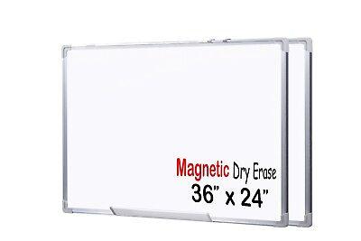 Large Medium Premium Grade 36 X 24 - Inch Magnetic Dry Erase White Board - 2 Set