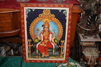 Antique India Hinduism Religious Color Poster Print-Goddess-Framed-Spiritual