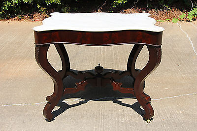 Fabulous Large Victorian Empire Flame Mahogany Scalloped Marble Top Center Table ()