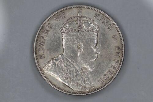 1902 STRAITS SETTLEMENTS 50 CENTS XF FINE / AU ABOUT UNC DETAILS KEY DATE (1602)