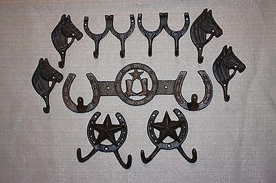 (9) Western Americana Horse Cowboy Home Decor, Cast Iron Wall Hooks, Lone Star