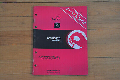 John Deere Original Model 1650 Backhoe Operators Manual
