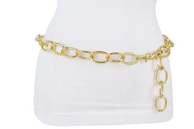 Women Fashion Hip High Waist Dressy Gold Metal Chain Links Belt Plus Size XL XXL