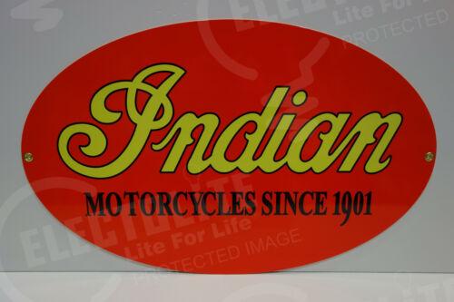 NOS INDIAN MOTORCYCLE DEALER PARTS DEPARTMENT DIE CUT Rare ENAMEL OVULAR SIGN