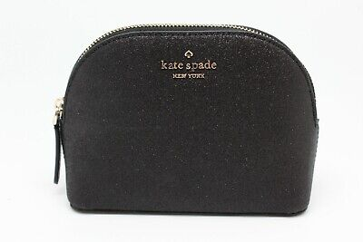 Kate Spade New York Joeley Small Dome Cosmetic Case Make Up Glitter Black