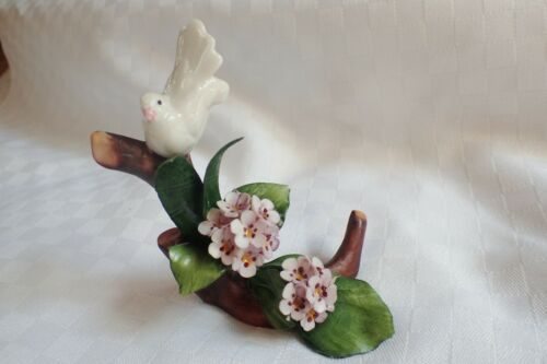 VINTAGE CAPODIMONTE ITALY ARTIST SIGNED DOVE ON BRANCH WITH FLOWERS FIGURINE