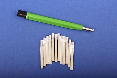Set 1x Glasfaserradierer 4 mm grün + 12 Glasfaser-Ersatzpinse 4 mml Polierstift