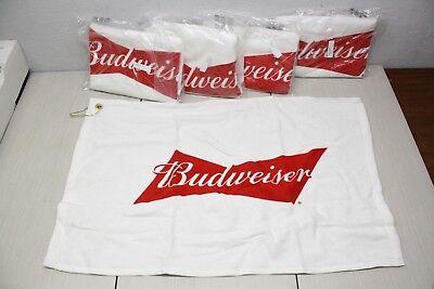 5x Budweiser Golf Bag Towel 24x16 AB Brand New Authentic Sealed