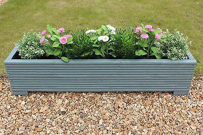 Sage Green 100x22x23 (cm) Wooden Garden Trough Planter or Plant Pots