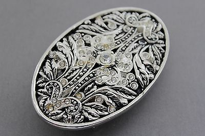 Men Women Silver Bling Metal Belt Buckle Oval Shape Classic Floral Filigree Leaf ()