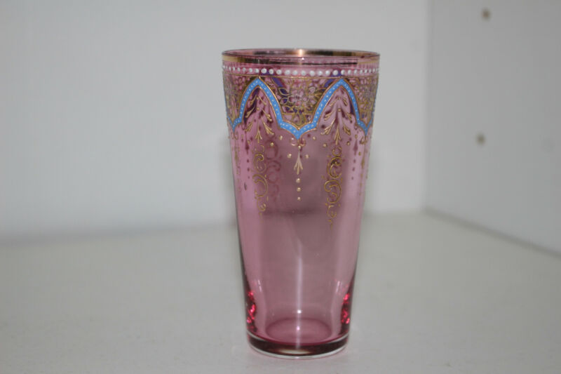 ANTIQUE HAND PAINTED ENAMEL VICTORIAN CRANBERRY GLASS VODKA TUMBLER-GOLD-MOSER C