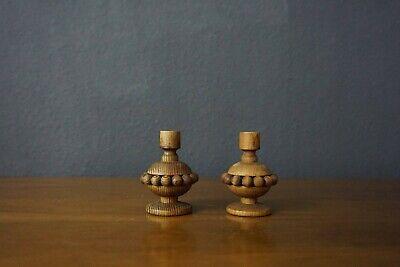 Aarikka Finland Pair of Vintage Wood Candle Holder MCM Scandinavian