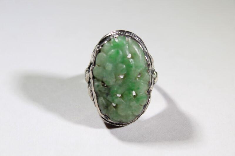 Art Deco Sterling Silver Carved Jadeite Ring