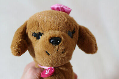 Barbie Great Puppy Adventure Plush Brown Dog Pink Collar And Bow