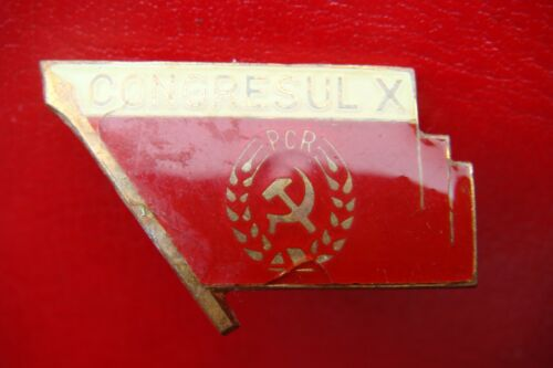 EXTREMELY RARE ROMANIAN COMMUNIST PARTY - X CONGRESS CEAUSESCU 1969 BADGE