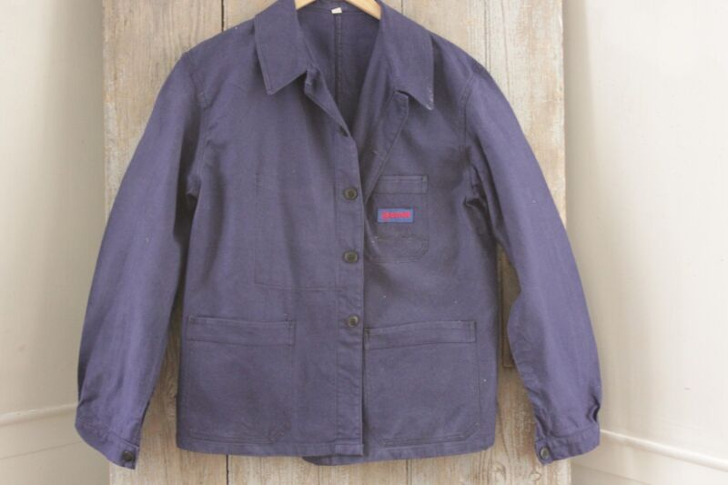 Vintage French farmer travaille bleus Workwear Chore denim blue Jacket coat