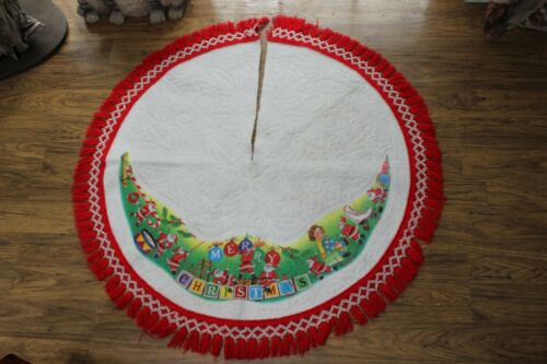 Really Cute 40 Inch Round Christmas Tree Skirt With Santa And Lots Of Toys