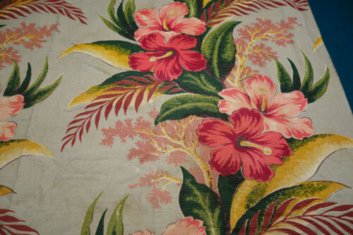 """2 Vintage Bark Cloth Panels - Tropical Hibiscus 46"""" by 46"""""""