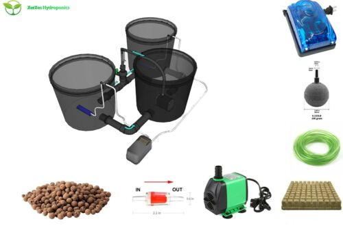 Recirculating Deep Water Culture RDWC Hydroponic System,3.5 Gallon [Set of 2]