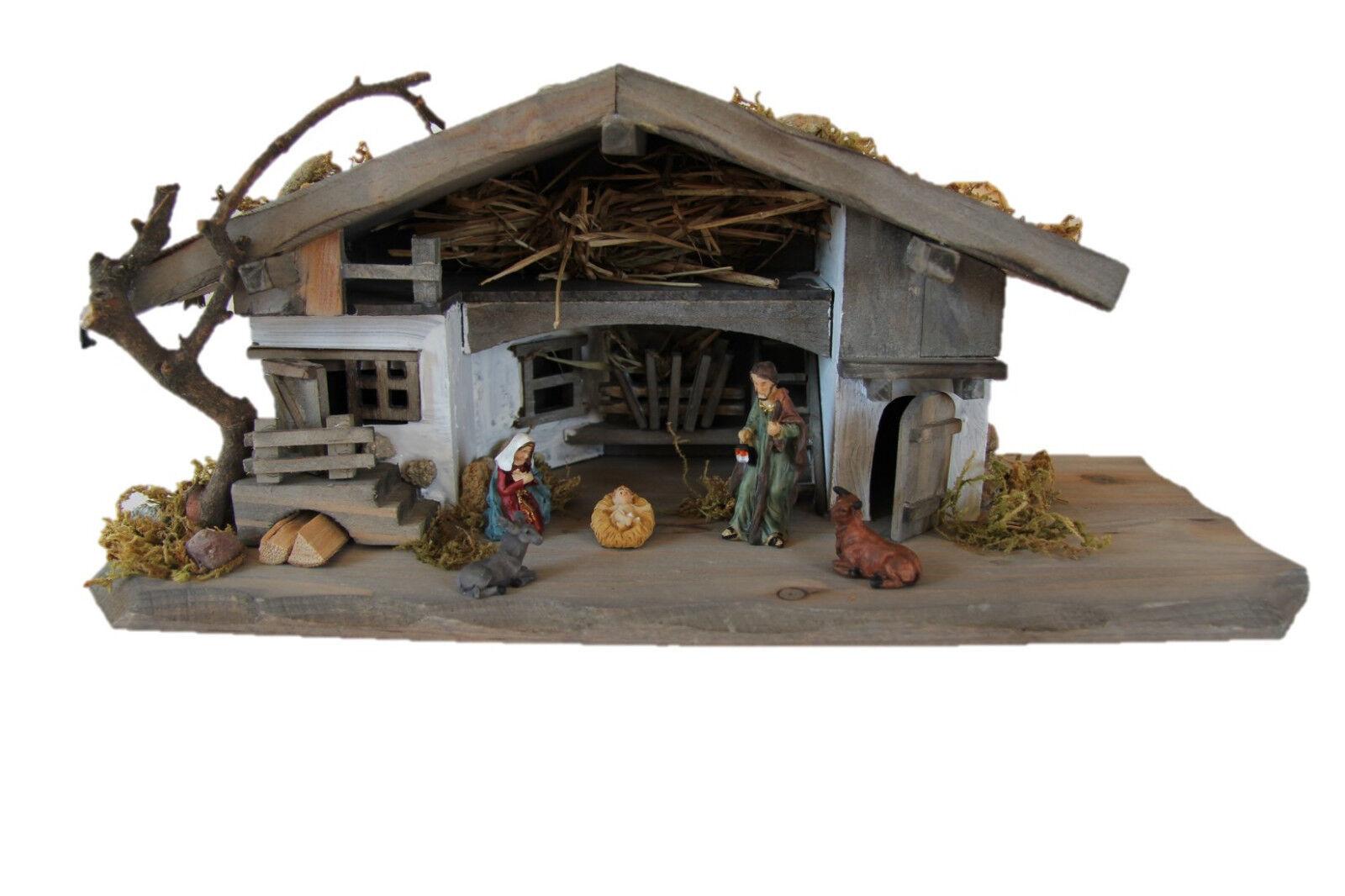"""Weihnachten Krippenstall""""Böhmerwald"""" Krippenfiguren inkl. 5 Figuren 30x11x13 cm"""