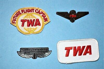 TWA AIRLINES FLIGHT CAPTAIN HAT CAP PATCH JR PILOT KIDDIE WINGS AVIATION SET LOT