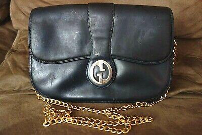 Vintage Gucci Blue Leather Bag chain purse