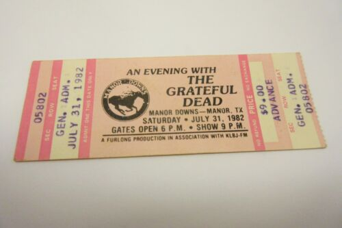 Grateful Dead Ticket Stub July 31st 1982 Manor Downs Austin TX
