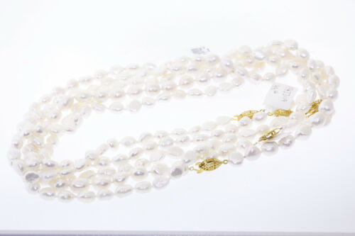 Wholesale Lot of 7 Genuine White 5-9mm Baroque Pearl Strand Necklaces 18 Inches