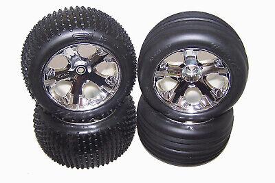 "Traxxas 37054-1 RUSTLER 2wd XL-5 Chrome Wheels 2.8"" Tires Rims Complete Set"