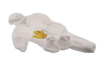 White Crochet New born Baby set yellow duck design pants sweater booties hat