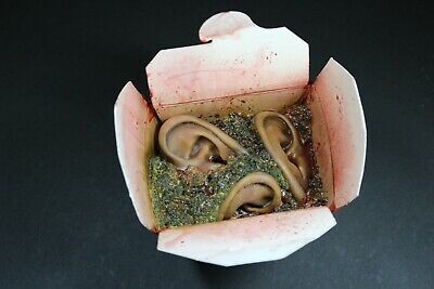 CREEPY CUISINE RANCID EARS WITH DICED BROCCOLI CARRYOUT HORROR HALLOWEEN PROP