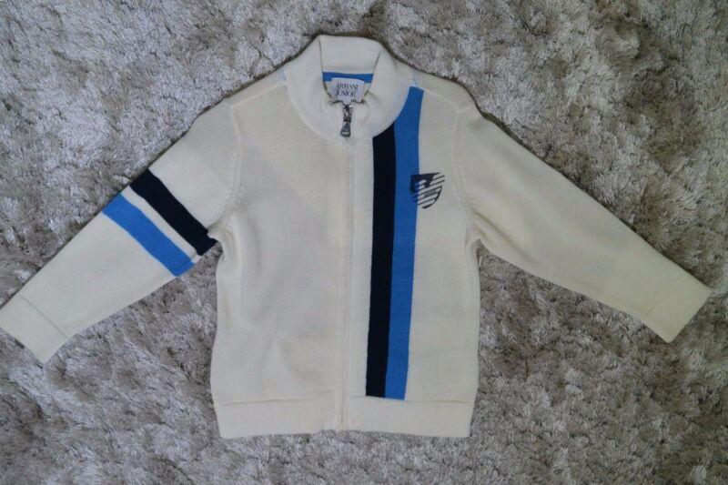 ARMANI Boys Zip-Up Cardigan- Cream/Beige & Blue (Size 2 Toddler)