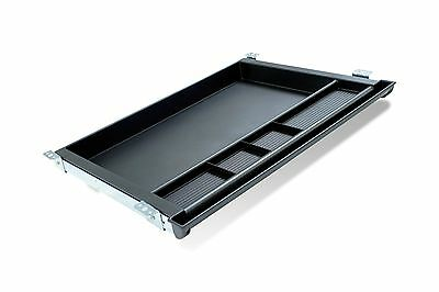 New Black Molded Plastic Under Desk Divided Pencil Drawer Tray On Metal Glides