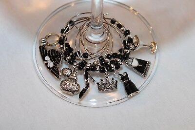 Breakfast at Tiffany's Inspired Wine Charms Wedding Bridal Charms Black Dress