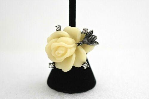 QVC Designer NOLAN MILLER White Rose Bumble Bee & Crystal Ring SZ: 5