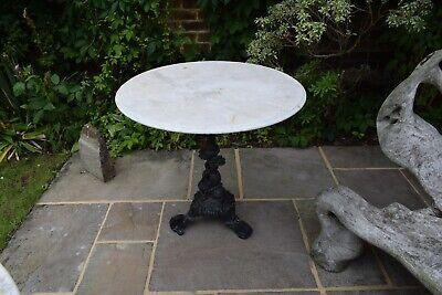 Vintage Antique Round Black Cast Iron White Marble Top Bistro Table
