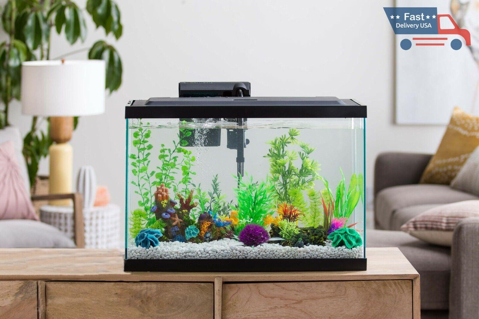 10 Gallon Fish Tank Home Office Betta Aquarium Kit Led Filter Pet Bowl Ornaments
