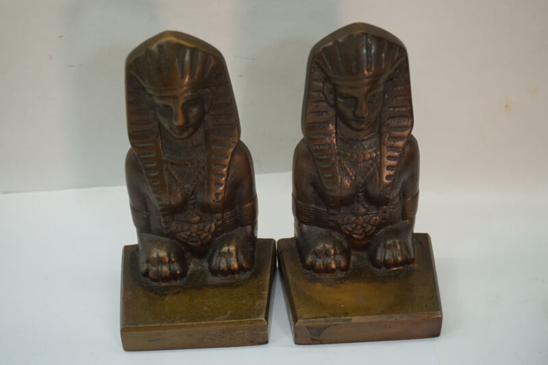 VINTAGE BOOKENDS BRONZE EGYPTIAN REVIVAL SPHINX PAIR SET BOOK ENDS PHARAOH