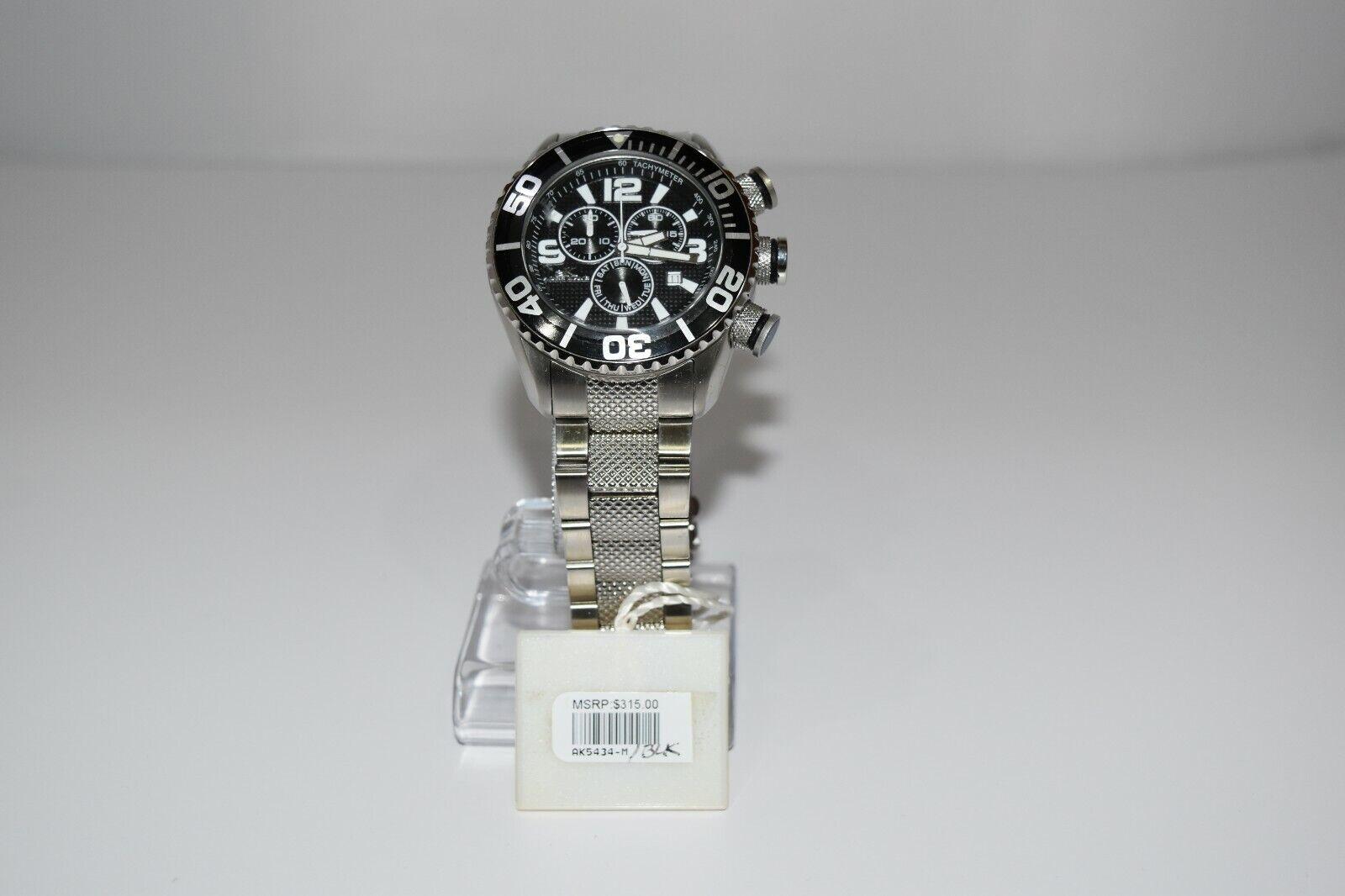 aK Adee Kaye Men`s Stainless Steel Chrono Oversized AK5434-M Watch Silver/Black