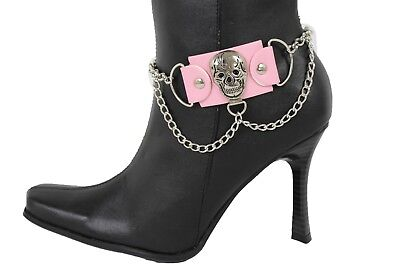 - New Women Fashion Boot Shoe Strap Big Spikes Gold Silver Metal Chain Black Brown