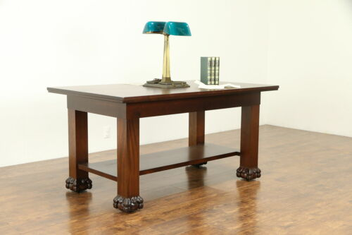 Walnut Antique Partner Desk or Library Table, Tobey Chicago  #32095