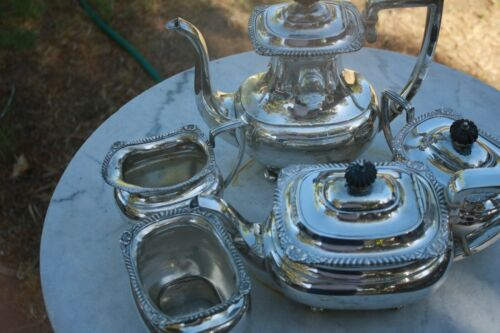 Large Antique Sterling 5 Matching Pieces, WC Tea & Coffe Pot, Sugar,Creamer