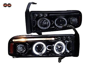 94-01 Dodge Ram 1PC Smoked Tinted Headlights w/Dual Halo LED  Projector Sport for sale  Shipping to Canada