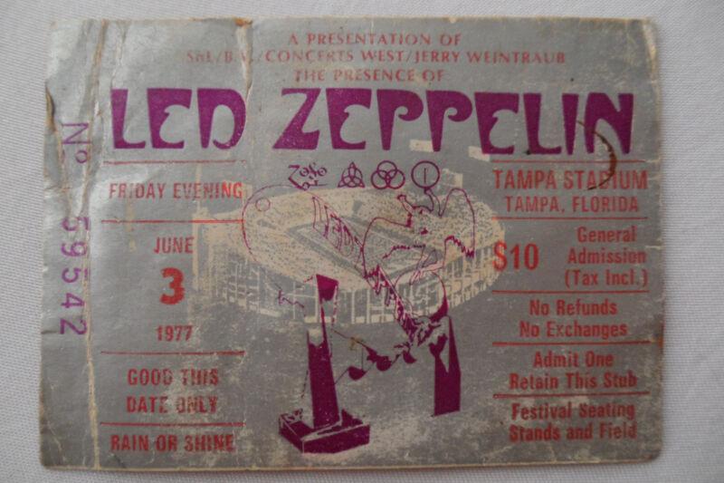 LED ZEPPELIN 1977 Original__CONCERT TICKET STUB__**RIOT SHOW**__Tampa, FL__VG+