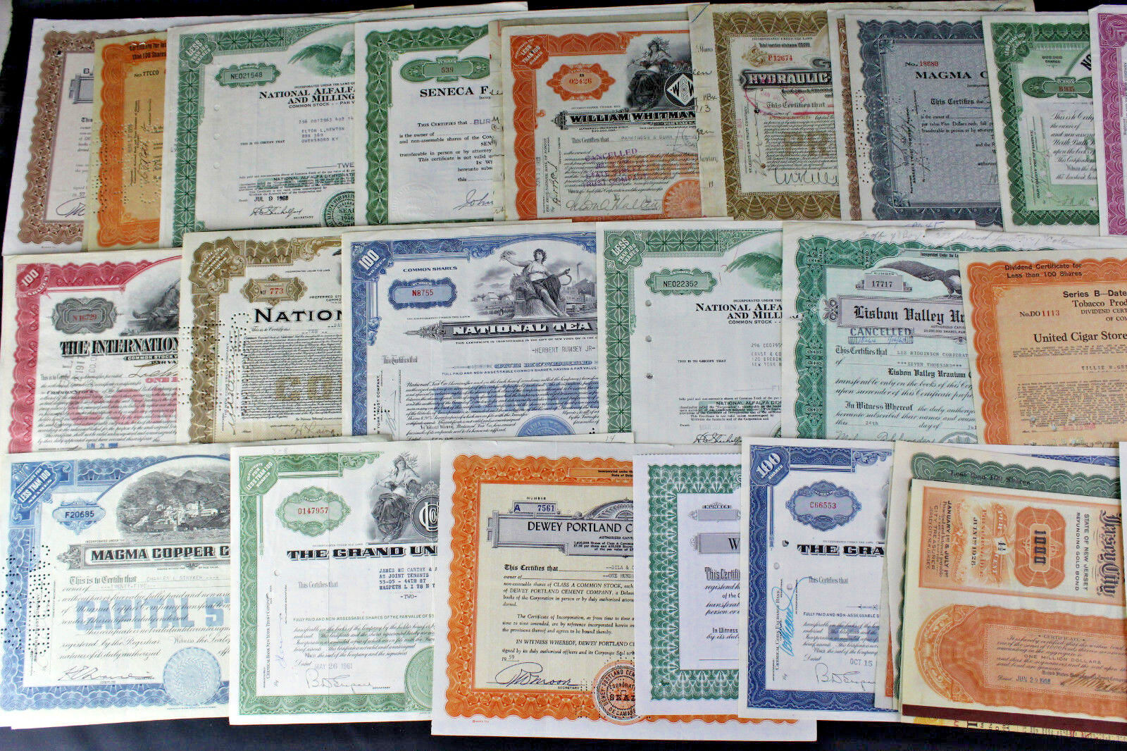 Lot of 50 Vintage Stock Certificates National Tea, Nickel, Mining, Tobacco++