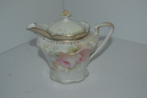 Vtg Syrup Dispenser Pitcher Creamer Single Serv Teapot Flower RS Prussia #12