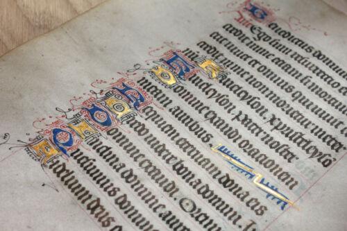 c1480 Latin decorated medieval manuscript 8 GOLD caps Book of hours psalm RARE