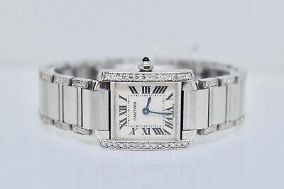Women's Cartier Tank Francaise Custom Set Diamond  Swiss Quartz Watch With  Box