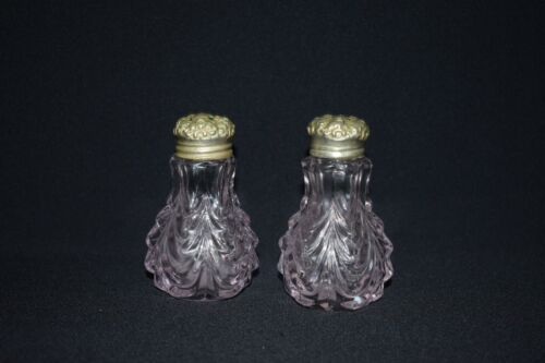 Antique Glass Salt and Pepper Shaker set with Floral Repousse Lid c1870's